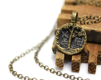 "Oak Tree Necklace, Acorn Jewelry, Oak Leaf, Antique Button Jewelry, 19th Century Necklace Windmill - ""Just Beyond the Oak"""