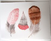 Feathers painting/ Watercolor original/ Minimalist Art/ Brown pink gray feathers/ Fantasy feather illustration/ Feather wall art Unisex gift