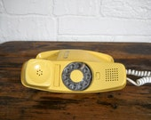 Vintage Yellow Phone Rotary Phone Trimline Phone Wall Phone Retro Phone Old Phone Retro Telephone 70s Decor Yellow Kitchen Decor Asheville