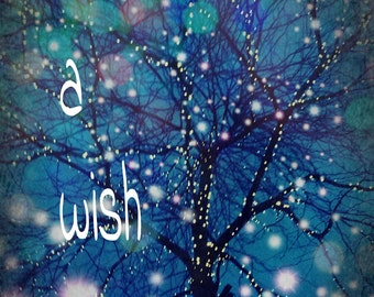 make a wish- bokeh nature photography- tree picture- blue wall art