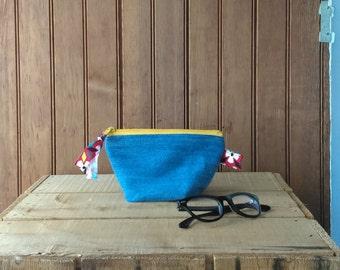 Zip pouch - recycled denim floral print yellow zipper bag case