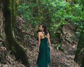 Fern High-Low Maxi Dress / Hunter Green / Twist Strap / Hand Beaded / Midi Dress / Cutout / Sexy Back / Fall / Holiday Dress / Resort