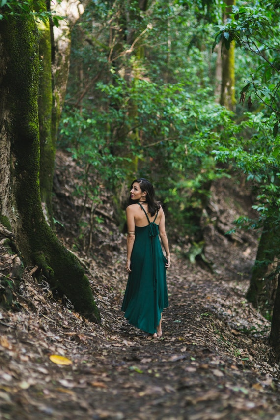 Fern Hunter Green High-Low Maxi Dress