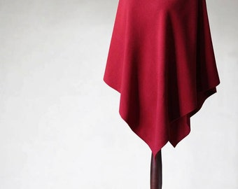 Wool poncho, red poncho, red coat, women's coat, wool coat, women's poncho, women's cape, red cape, women's sweater, wool sweater