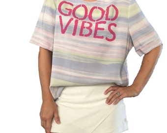 Good Vibes / Good Vibes Top/ Pink/ Good Vibes Clothing/ Good Energy/ Grateful/ Pastel Striped Top/ Vibes/ Silky Blouse