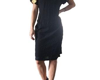 LBD/ Little Black Dress/ Gold Dress/ Gold Chevron/ Short Sleeve Black Dress/ Metallic Gold Chevron Dress/ Gold Dress/ Vintage Black Dress