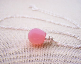 Pink Drop Necklace - Dainty Drop Necklace - Sterling Silver Necklace - Wire Wrapped Briolette Necklace - Gift for Her