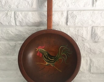 vintage Munising wood handled decorative bowl Rooster kitchen decor