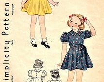 30's Vintage Toddlers Full Skirt Dress Panties Sewing Pattern Size 2 Sweetheart or Collar Neckline Simplicity 2735 Non Printed Complete