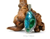 Wire Wrapped Pendant Chrysocolla Pendant Malachite Green Blue Natural Stone Cabochon Pendant Sterling Silver Wire Wrapped Jewelry Handmade