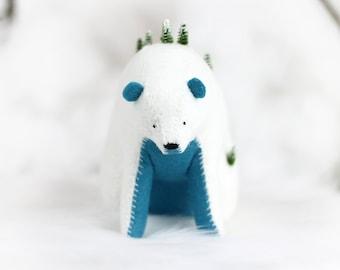 Winter Mountain Bear (Blue) / Sitting Bear Soft Sculpture / Grizzly Bear Art / Mountain Art / Mountain Bear
