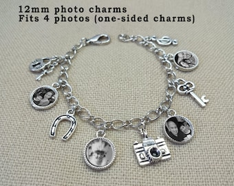 Personalized Photo Charm Bracelet-12mm, Personalized picture bracelet, custom photo bracelet