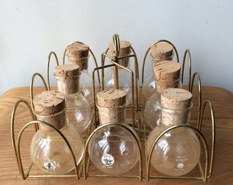 Set of 8 Glass Jars with Rotating Brass Metal Caddy