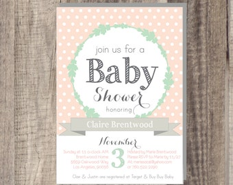 PRINTABLE - Peach Mint Baby Shower Invite-Vintage Rustic Customizable -Outdoor Garden Shower- bohemian shower - Polka Dot Baby Shower invite