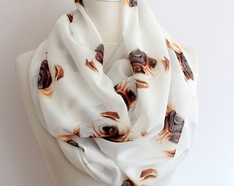 PUG Print Infinity scarf Circle scarf Loop scarf scarves summer spring fall winter fashion gift ideas for her girlfriend wife valentine's