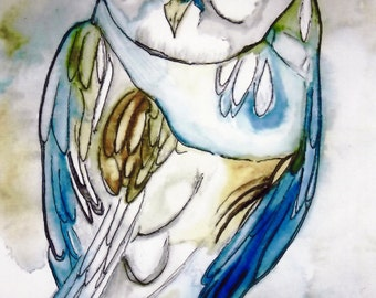 Blues Owl Watercolor Painting REPRODUCTION PRINT