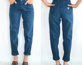 Reserved for Michelle // 80's Palmetto's Dark Blue Jeans // High Waisted - Tapered Legs (Size 4-5)