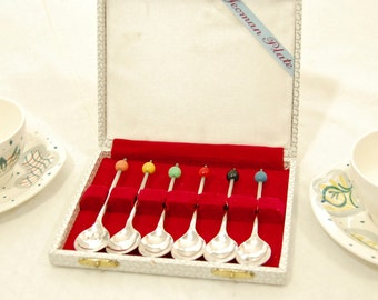 Vintage MidCentury 'Yeoman Plate' Silver plated Multi Coloured COFEE BEAN Spoon - Set of 6 - Boxed