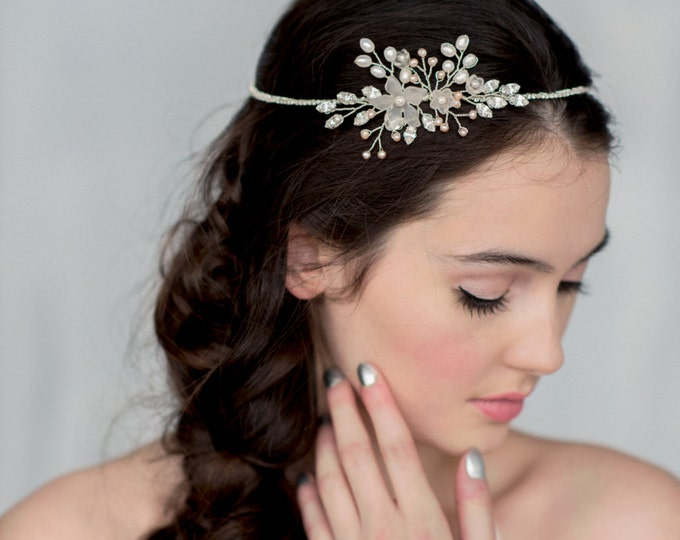 Silver Crystal Halo, Crystal Crown, Twig Headpiece, Modern Tiara, Pearl Circlet, Blush Hair Piece, Bridal Accessory, Boho Headpiece, MARLOW