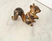 Squirrel Figurine, Miniature Squirrel, Collectible Squirrel, Woodland Animal, Stoneware Squirrel, Terrarium Figurine, Made in Japan