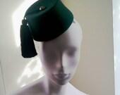 Womens Green  Cocktail Hat Mini Fez