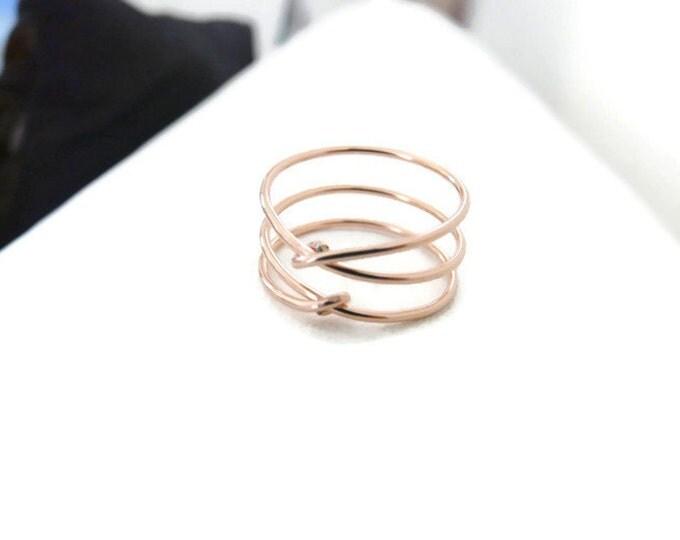 Criss Cross Ring/ Rose Gold Ring/ Rose Gold Fill/Women Rings/ Handmade Jewelry For Her