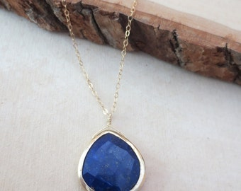 Lapis pendant necklace, September birthstone, lapis lazuli necklace, lapis gemstone necklace, lapis pendant on gold filled chain