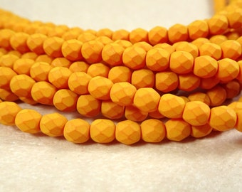 4mm Czech Glass Fire Polished Beads - Saturated Pumpkin (FP4/SM-29536) - Qty 50