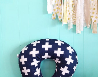 Boppy Cover - Navy and White Plus Sign