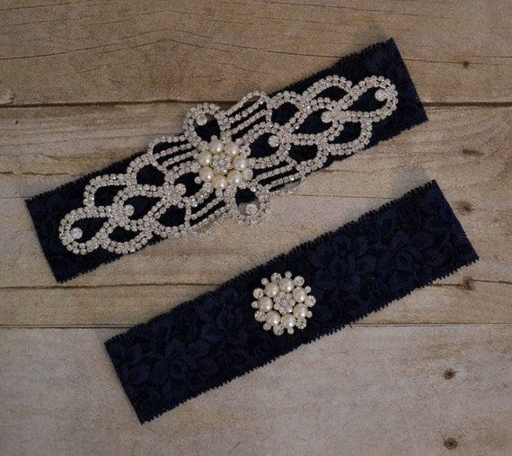 Navy Blue Wedding Garter Rhinestone Garter Set Unique
