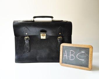 1950's Black Leather Briefcase - Black Business File -  Notebook - Portfolio