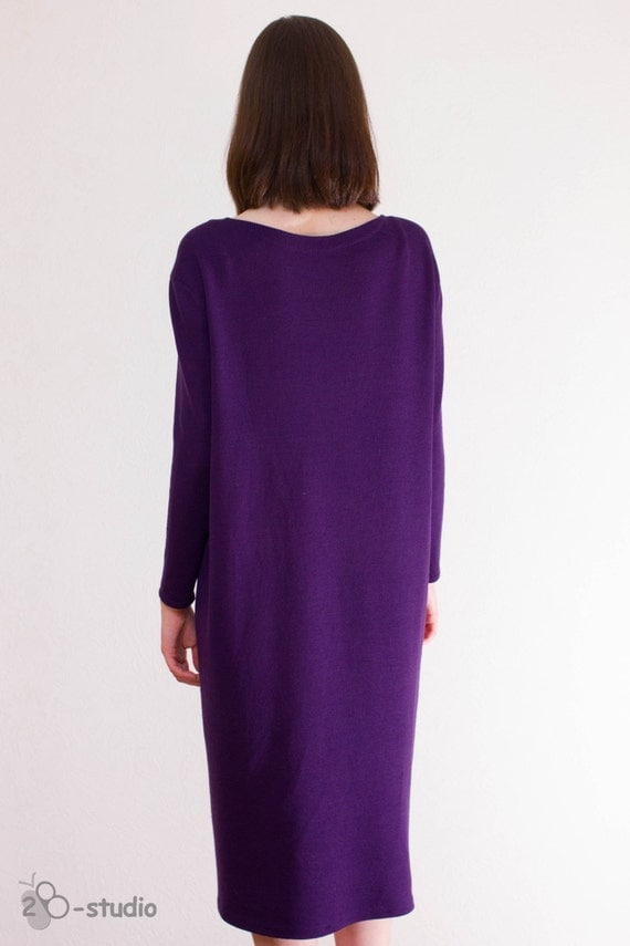 Violet Dress Knitting Pattern : Plus Size knitting pattern Hand knitted dress Violet knit dress Over Size Swe...