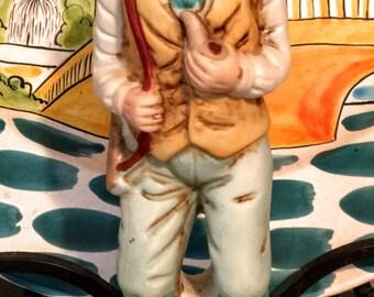 Vintage Homco Like Bisque Figurine Old Man Hunter/Hunting