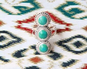 Turquoise Ring, Multi Gemstone Ring, Boho Rings, Boho Jewelry, Statement Ring, Sterling Silver Ring, Silver Rings, Bohemian Jewelry
