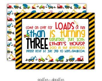 Construction Birthday Invitation, Construction Party, Construction Birthday, Trucks, Dump Truck, Boys Birthday, Printable or Printed
