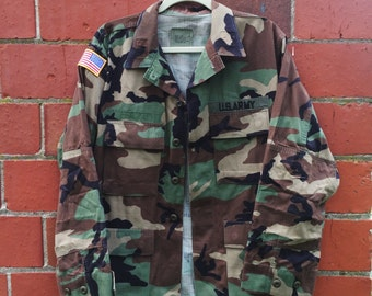 Vintage Army Jacket Military Issued Button Down Shirt Camo Jacket