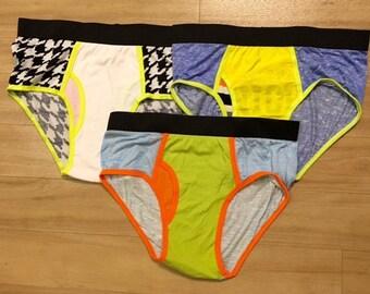 SET OF 3 - 100% Recycled T-Shirt Handmade Men's Brief Underwear PanTees: Black-White Patterns, Sky Blue & Striped Blue (Sz L)