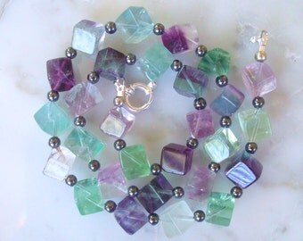 Fluorite Necklace- Purple, Blue, Green, Striped & Paraiba All Natural Colored Fluorite Gemstone Necklace