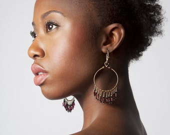 Handcrafted Earrings, Artisan Jewelry, Hoop Earrings, Chandalier Earrings, Gyspy Style, Garnet Gemstone, Fringe, Movement, Sparkle, Drama