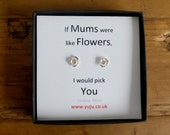 Silver Rose Stud Earrings with Quote, Tiny Rose Earrings, Tiny Rose Stud Earrings, Personalised Quote Gift, Stocking Filler for Mum