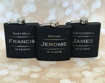 2 Personalized Gifts for Groomsmen, Gifts for Groomsman, Flask Gift, Usher Gifts, Wedding Favors, Father of the Bride Gift, Gift for Groom