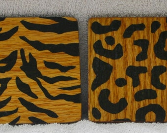 Animal Print Wooden Coasters (set of 4)
