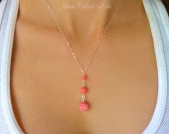 Pink Coral Necklace, Dangle Necklace, Coral Beaded Necklace, Coral Y Necklace, Coral Necklace Bridesmaid, Pendant Necklace, Coral Wedding