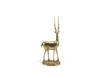 LARGE Vintage Brass Gazelle Figurine - Gold Antelope - Mantel Decor - Mid Century - Chinoiserie - Hollywood Regency - Safari Woodlands