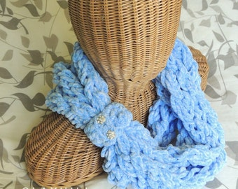 Infinity Scarf in Sky Blue - Super Soft Yarn - Vintage Button Detail - Rhinestone Buttons- Wrap Scarf - Gifts for Her - Gifts Under 20