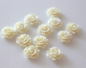 Resin Cabochons ,Cream Resin Rose 11mm