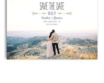 Save The Date Template - Wedding Announcement Template - 5x7 Card  - CARTER & GRACE - 1394
