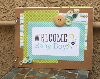Baby Boy Scrapbook, Pre Made Scrapbook, Baby Shower Gift, Ready to Finish Scrapbook, Mini Scrapbook, Handmade Scrapbook,  Memory Book