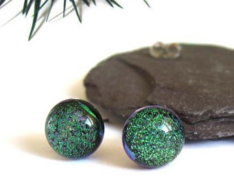 Small green yellow blue shiny sparkle - stud post earrings - Fused dichroic glass tiny wedding earrings, Silver jewelry, earrings E402