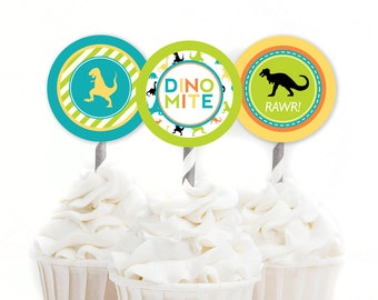 Dinosaur Cupcake Toppers, Dinomite Birthday, Dino Party Circles, TRex Birthday, Boy Birthday Decor, Lime and Teal, INSTANT DOWNLOAD, #40